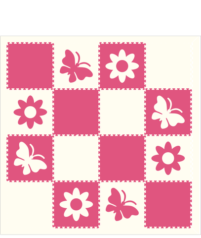 M14- Pink and White Flowers and Butterflies 8 x 8