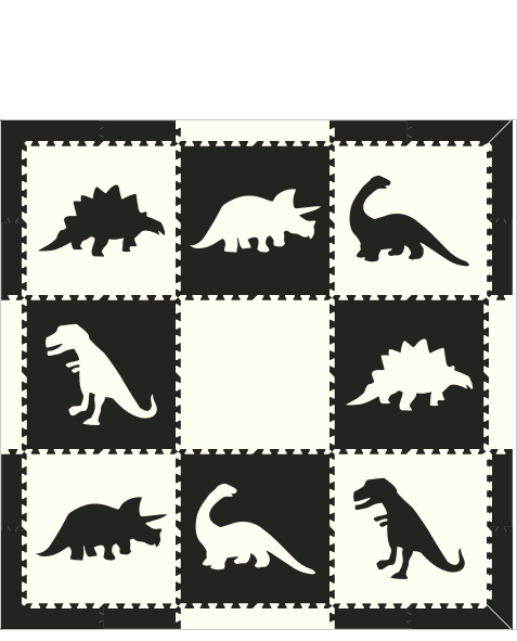 M97- Black and White Dinosaurs 6x6
