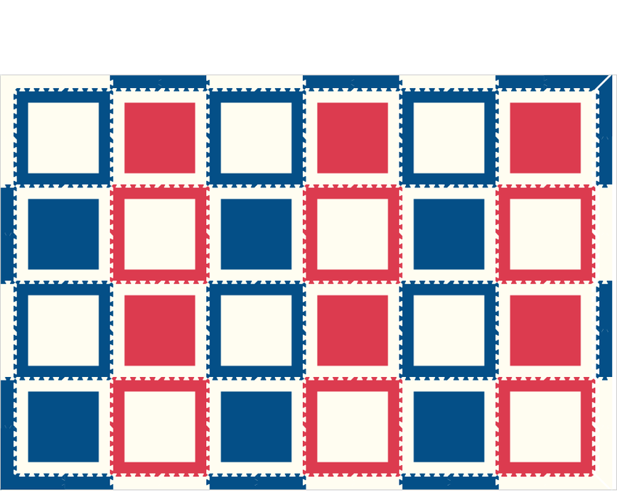 M480- Squares Red, Blue 8x12