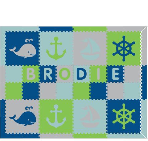 M313- Lime, Blue, Lt Gray, Lt Blue Nautical w/ name 6x8