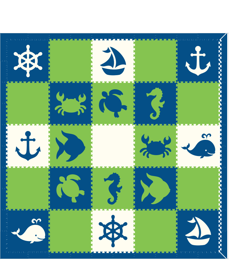 M74- Blue, Lime, and White Nautical/Sea Animals 10