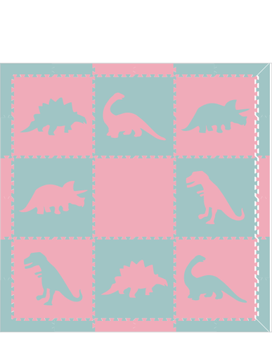 M321- Lt Blue and Lt Pink Dinosaurs 6x6