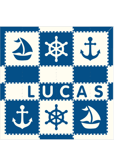 M361- Name Nautical Blue White 6x6