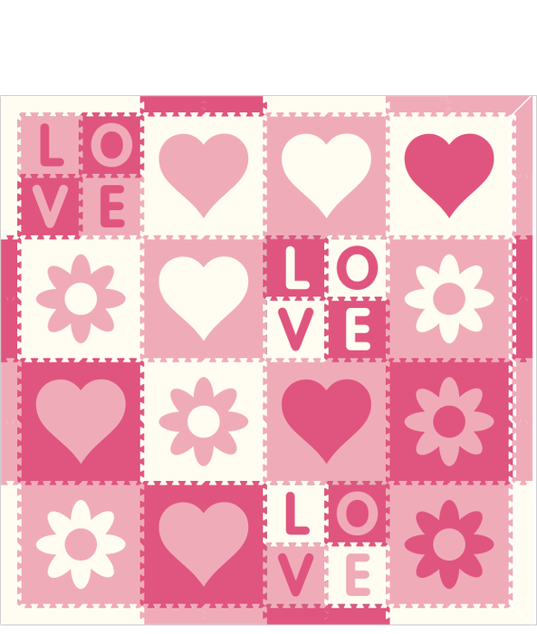 M166- Lt Pink, Pink, White Hearts/Flowers Love 8x8