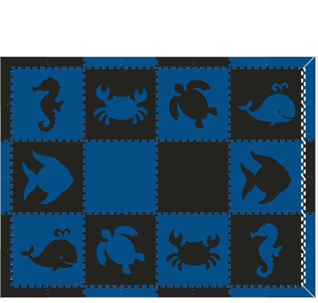 M19- Sea Animals Blue/ Black 6 x 8
