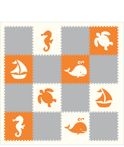 M239- Lt Gray, Orange, White Sea Animals 8x8