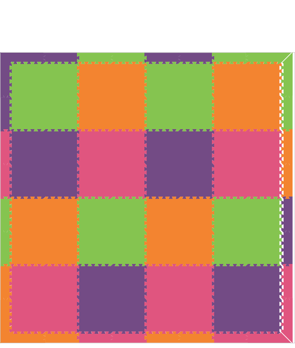 D102- Play Mat in Orange, Lime, Pink, and Purple 8.5 x 8.5