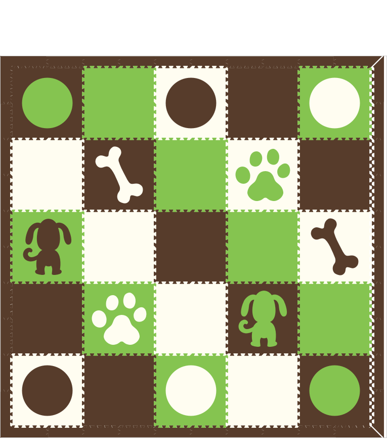 M177- Brown, Lime, White Puppy/Circles 10x10