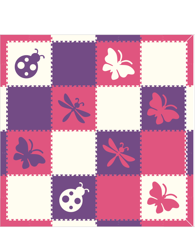 Butterfly Bugs Dragonfly Purple Pink White 8x8
