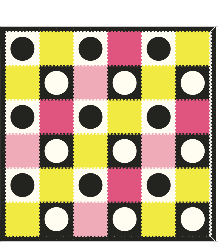 M324- Yellow, Lt Pink, Black, Pink Circles 12x12