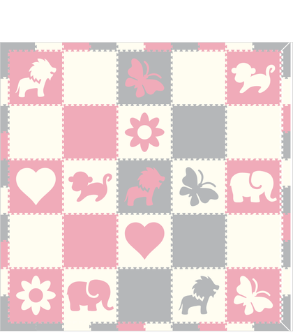 M293- Light Pink, White, Light Gray Mixed Shapes 10x10