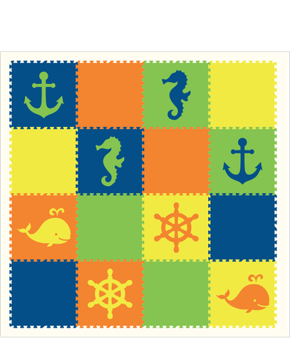 M134- Nautical/ Sea Animals Blue, Orange, Yellow, and Lime 8x8