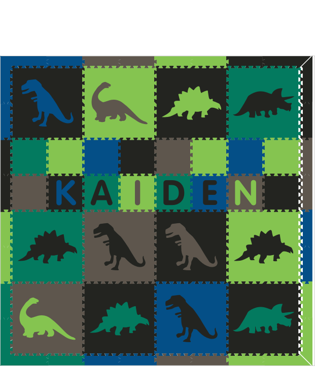 M130- Dinosaurs Lime, Gray, Blue, and Green w/ name 8x8