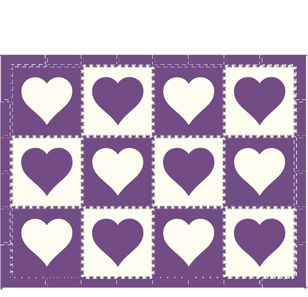 M47- Hearts Purple & White 6x8