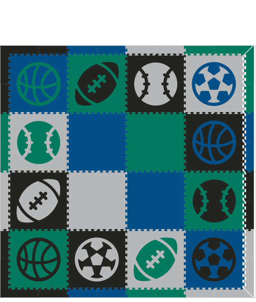 M588- Sports, Black, Blue, Green, Light Gray 8x8
