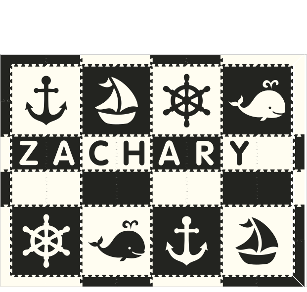 M439 - Nautical with Name Black and White 6x8- Backordered 5/5/21