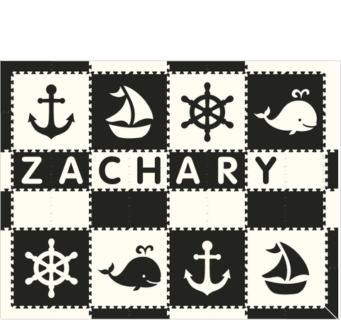 M439- Nautical with Name Black and White 6x8