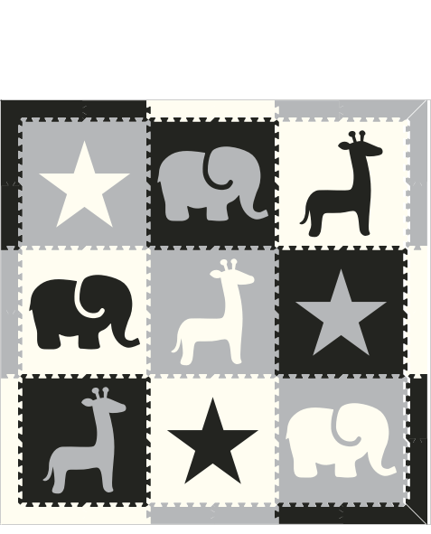 M395- Star Safari Black, White, Light Gray 6x6