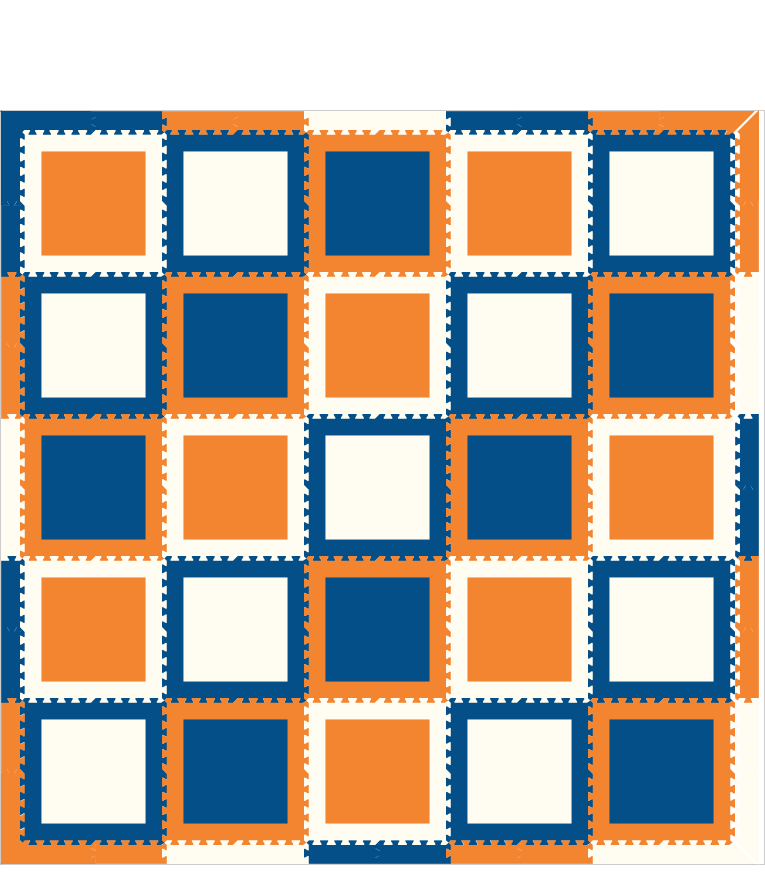 M141- Blue, Orange, White Squares 10x10