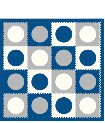 M2- Circles Blue Light Gray White 8x8
