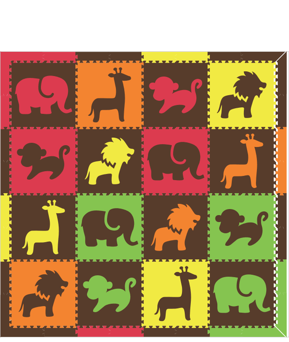 M679- Safari Animals Red, Orange, Yellow, Lime, Brown 8x8