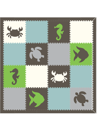 M3- Gray, Light Gray, White, Light Blue, Lime Sea Animals 8 x 8