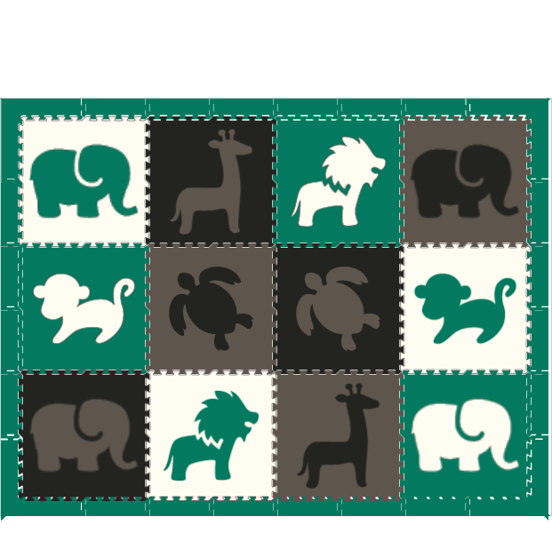 D170-Safari Animals Black Gray White Green