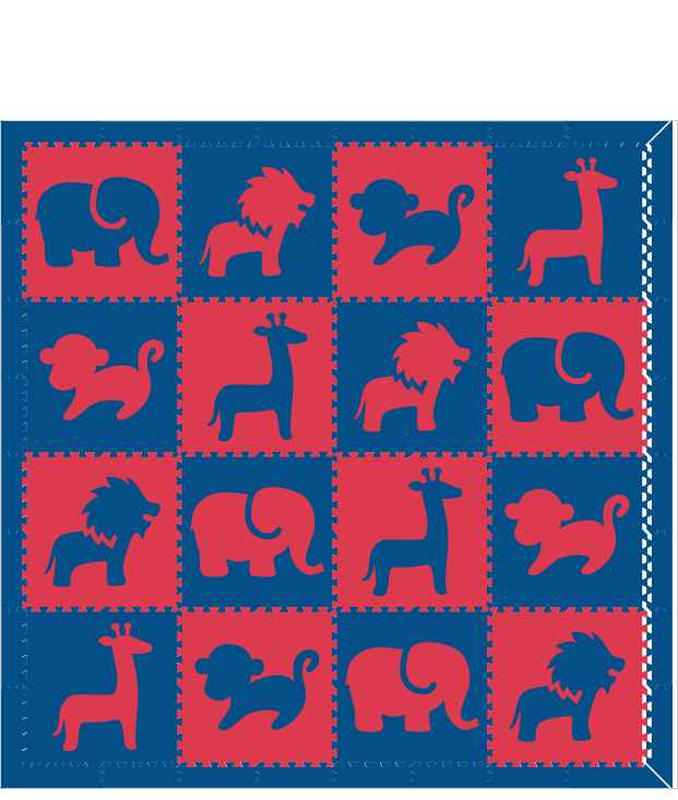 D120 Red Blue Safari Animals 8x8
