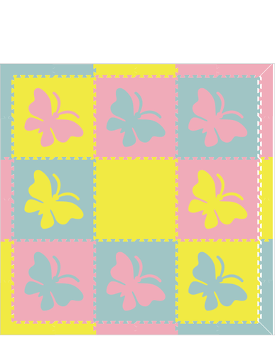 M316- Lt Blue, Lt Pink, Yellow Butterfly 6x6