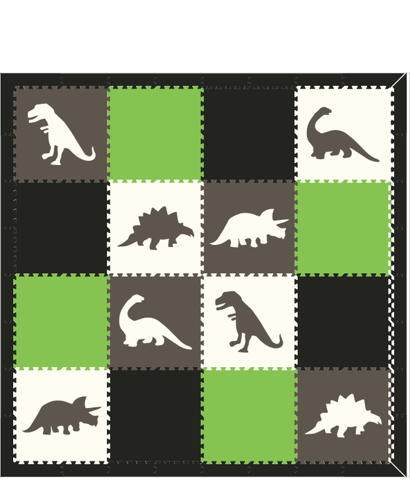 M7- Dinos Gray/ White with Black and Lime 8 x 8
