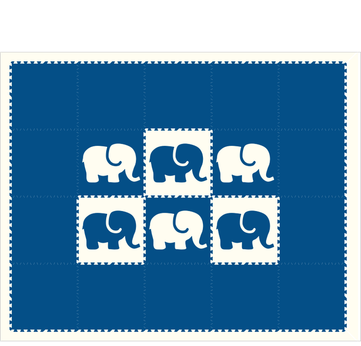 D121 Elephants Blue White 8x10