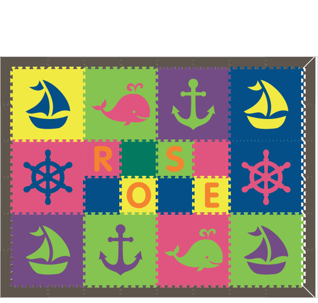M103- Nautical Lime, Purple, Blue, Yellow, and Pink with name 6x8