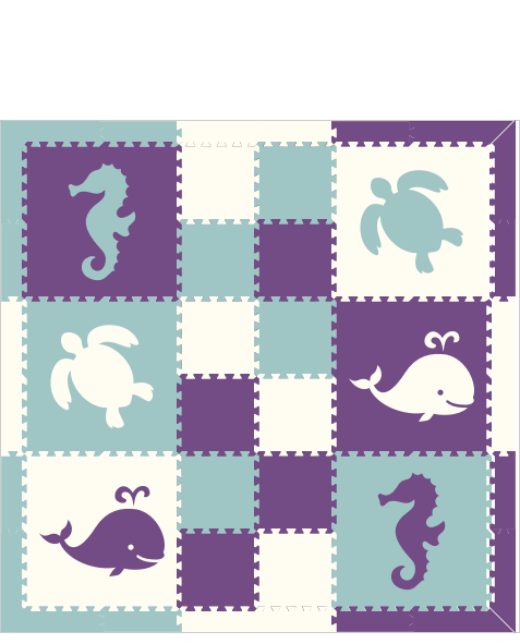 M302- Light Blue, Purple, White Sea Animals w/ 1x1 6x6