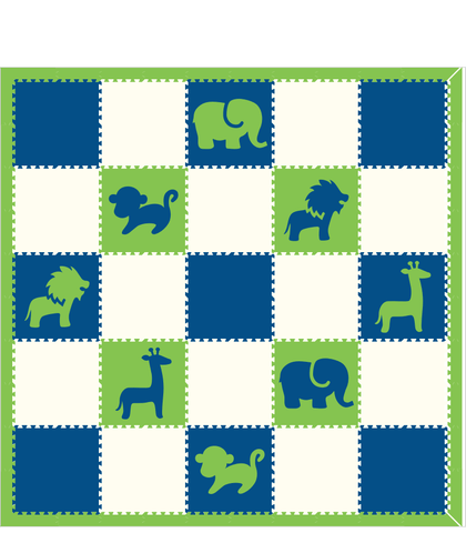 M100- Lime, Blue, and White Safari Animals 10x10