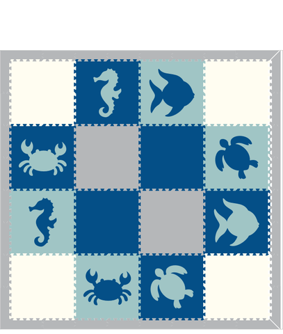 M17- Sea Animals Blue Lt Blue White Lt Gray 8x8