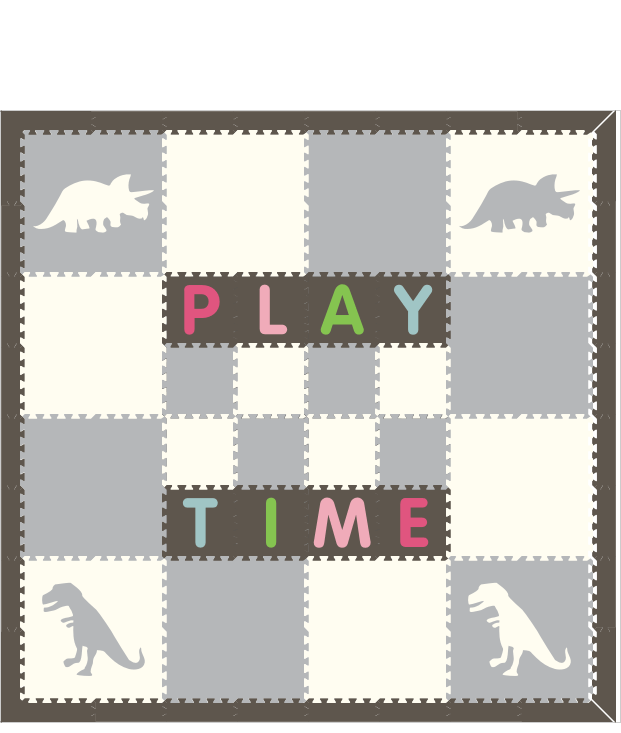 M256- Lt Gray, White Dinosaurs w/ name 8x8