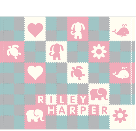 M218- Lt Blue, Lt Pink, White, Lt Gray Mixed Animals w/ name 10x12