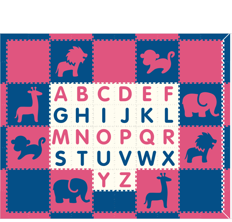 M86- Pink and Blue Safari with Alphabet 8x10