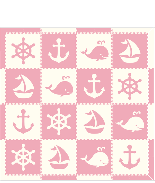 D184- Nautical Light Pink White 8x8