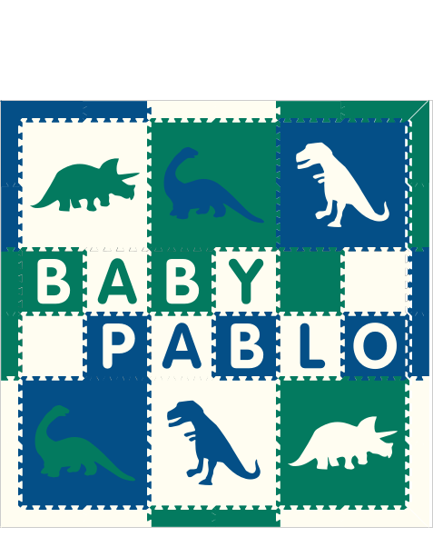 M76- Blue, Green, and White Dinosaurs with name 6x6