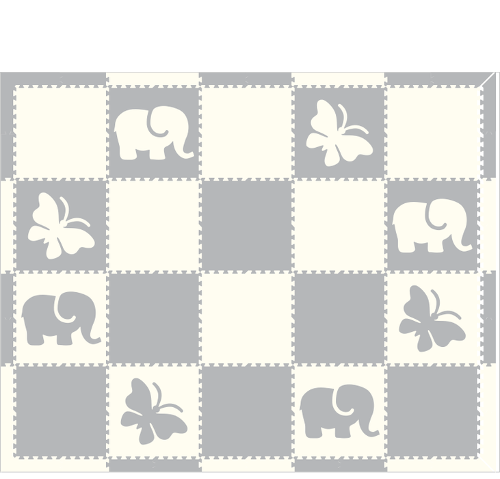 M443- Elephant Butterfly Light Gray White 8x10