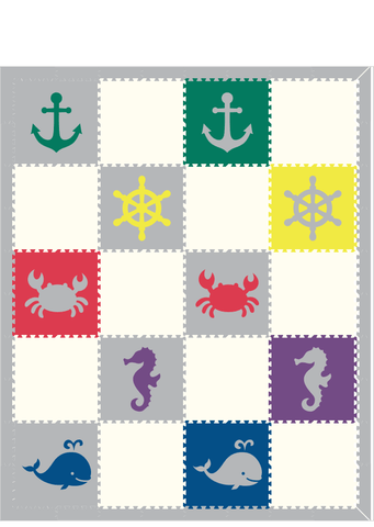 D197- Nautical/ Sea Animals Checkerboard Colors/Light Gray 8x10