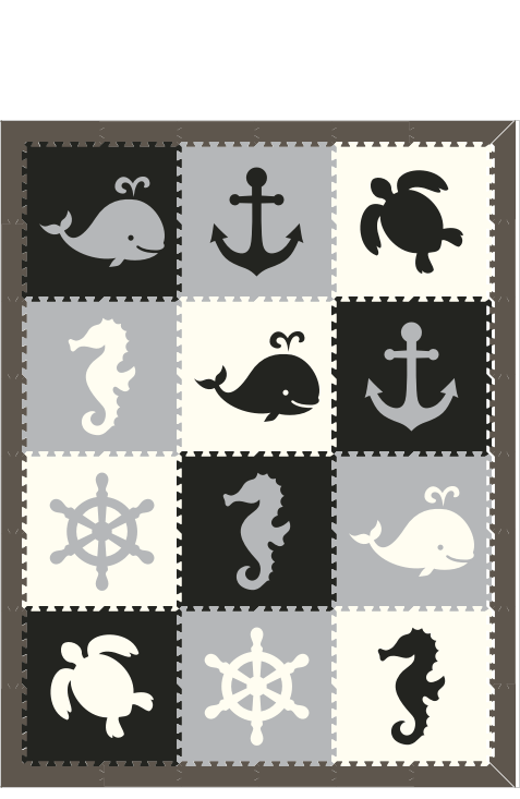 M229- Lt Gray, White, Black Nautical/ Sea Animals 6x8