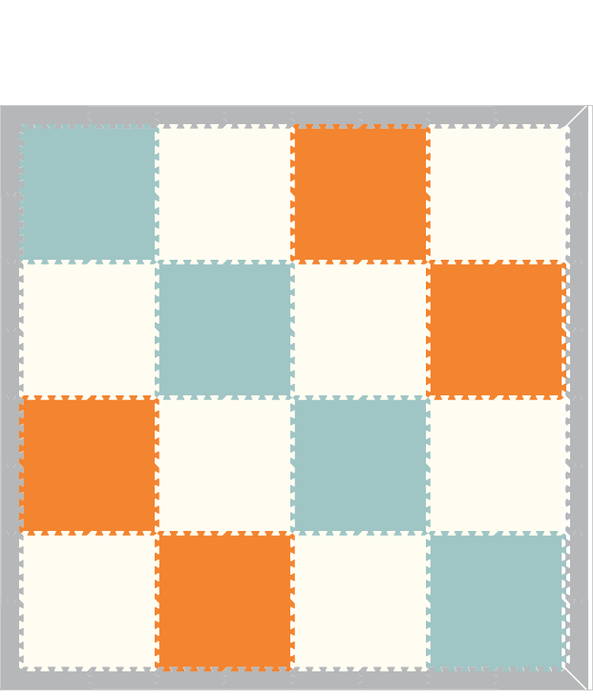 D192 Light Blue, Orange, White 8x8