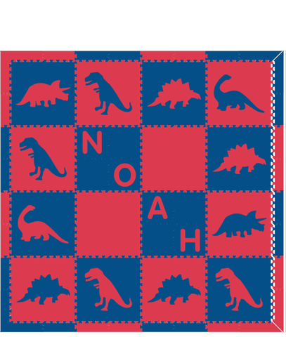 M114- Red and Blue Dinosaurs with name 8x8