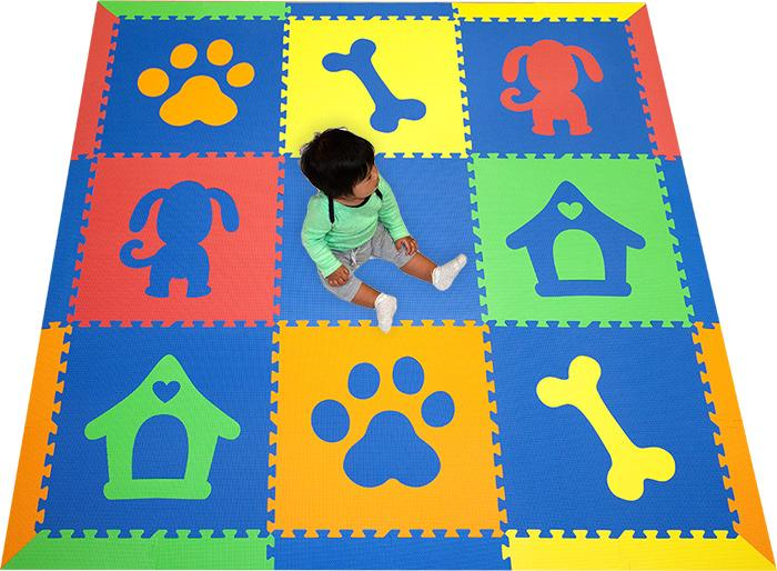 SoftTiles Puppy Dog Theme Foam Play mats- Baby Play Mat