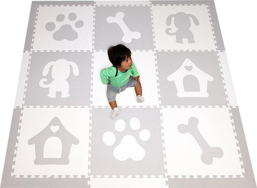 SoftTiles Puppy Dog Theme Foam Play Mat in Light Gray and White