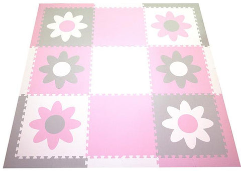 SoftTiles Flowers Children's Play Mat Set with Borders White, Light Pink, Light Gray