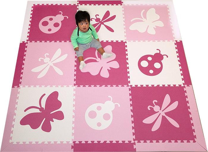 SoftTiles Bugs- Ladybug, Butterfly, Dragonfly Girls Foam Play Mat
