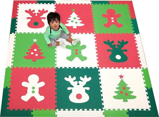 SoftTiles Christmas Theme Children's Foam Play Mat (6.5 x 6.5 feet) Red, Green, Lime, White